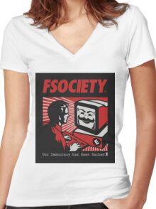 MR ROBOT - FSOCIETY Women's Fitted V-Neck T-Shirt