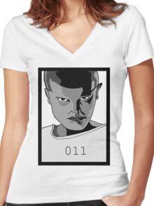 Eleven Stranger Things Grayscale Digital Art Women's Fitted V-Neck T-Shirt