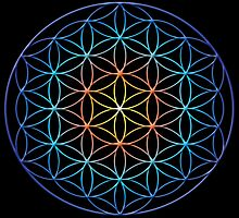 Flower of Life Sacred Geometry Symbol (yellow orange blue gradient) by Leah McNeir