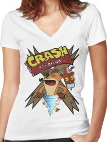 Old Timey Crash Bandicoot Women's Fitted V-Neck T-Shirt