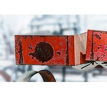 Rusty Red Boxes Photographic Print