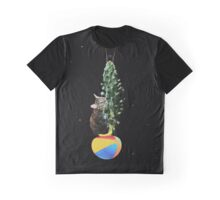 Cactus Cat Space Travel Graphic T-Shirt