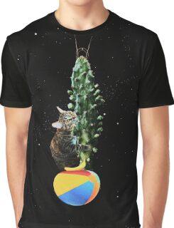 Cactus Cat Space Travel Graphic T-Shirt