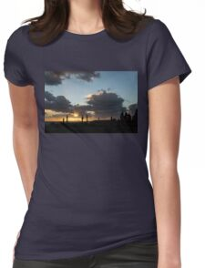 Cypress Sunset - a Very Italian Moment on the Coast of Herculaneum Womens Fitted T-Shirt