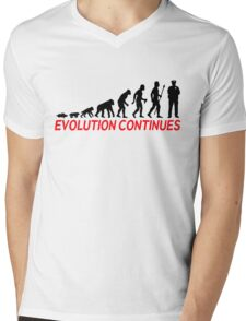 Funny Police Officer Evolution Of Man Continues Mens V-Neck T-Shirt