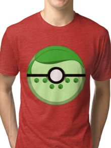 Chikorita Inspired Complete Poke Ball Tri-blend T-Shirt