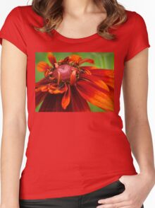 Unfolding Red Flower Women's Fitted Scoop T-Shirt