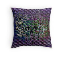 Neon-coloured skull with a rose hairpiece of roses! Throw Pillow