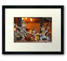 A Fox, A Cat, A Wooden Boy, Marionette Puppet Boy  Framed Print