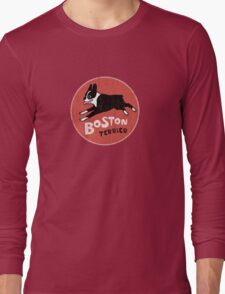 Boston Terrier Retro Style Long Sleeve T-Shirt