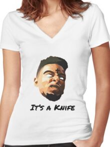 """21 Savage """"It's a knife"""" Women's Fitted V-Neck T-Shirt"""