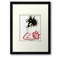 Blood Red Mermaid Framed Print