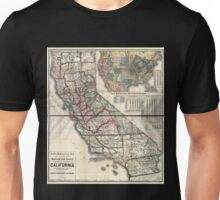 0093 Railroad Maps New enlarged scale railroad and county map of California showing every railroad station and post office in the Unisex T-Shirt