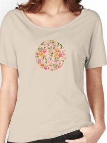 Golden Flitch (Digital Vintage Retro / Glitched Pastel Flowers - Floral design pattern) Women's Relaxed Fit T-Shirt