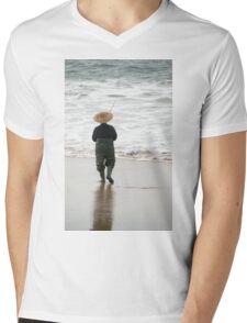 The Lone Fisherman Mens V-Neck T-Shirt