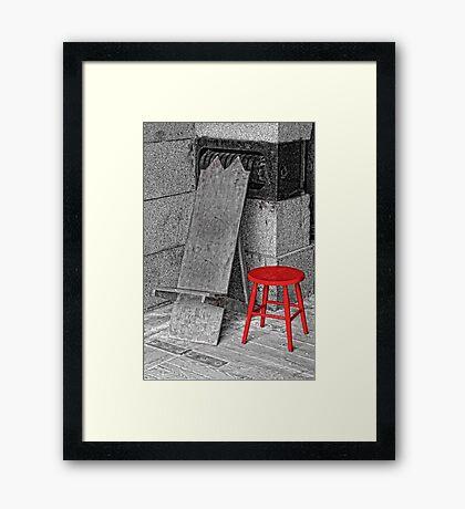 RED STOOL - GREY GRANITE Framed Print