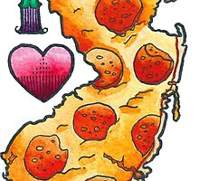 I Love New Jersey Pizza by brutalsquidart