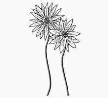Two Daisies  in Black and White Transparent Background One Piece - Short Sleeve