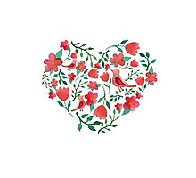 Watercolor flowers heart Photographic Print