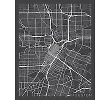 Houston Map, USA - Gray Photographic Print