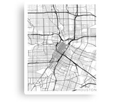 Houston Map, USA - Black and White Canvas Print