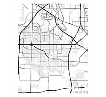 Irving Map, USA - Black and White Photographic Print