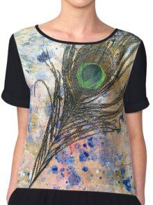 Dancing Peacock 2 'Rain Painting' Chiffon Top