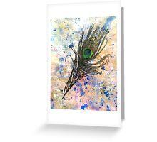 Dancing Peacock 2 'Rain Painting' Greeting Card