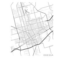 Odessa Map, USA - Black and White Photographic Print