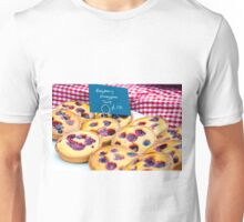 Delicious round raspberry tarts in British market Unisex T-Shirt