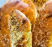 Close up shot on pieces of bread by Stanciuc