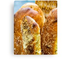Close up shot on pieces of bread Canvas Print
