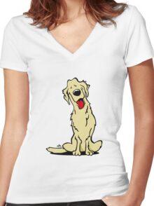 Cartoon golden retriever dog Women's Fitted V-Neck T-Shirt