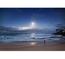 Full Moon Over Waimea Bay 2 Photographic Print