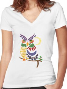 Cool Artistic Colorful Owl Abstract Art Original Women's Fitted V-Neck T-Shirt