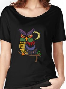 Cool Artistic Colorful Owl Abstract Art Original Women's Relaxed Fit T-Shirt