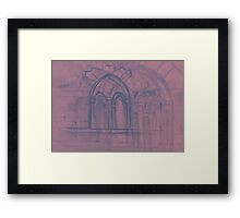 Watercolor sketch with classical window. Framed Print