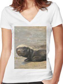 Honey Badger -  Women's Fitted V-Neck T-Shirt