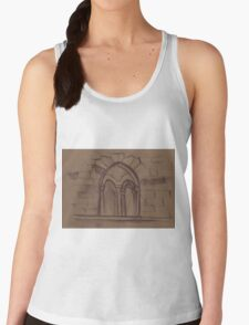 Watercolor sketch with classical window. Women's Tank Top