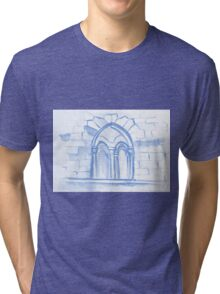 Watercolor sketch with classical window. Tri-blend T-Shirt