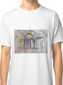 Watercolor sketch with classical window. Classic T-Shirt