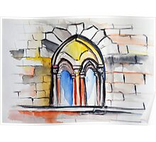 Watercolor sketch with classical window. Poster