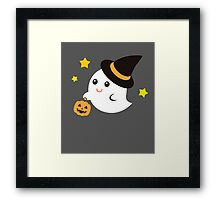 Cute Kawaii Ghost Halloween Print Graphic Funny Framed Print
