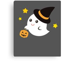 Cute Kawaii Ghost Halloween Print Graphic Funny Canvas Print