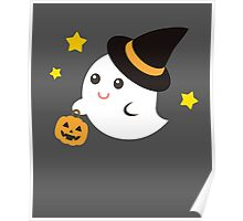 Cute Kawaii Ghost Halloween Print Graphic Funny Poster