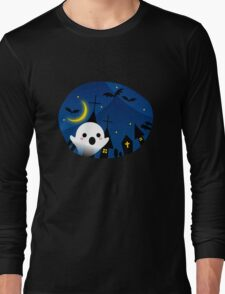 Kawaii Cute Ghost Halloween Night Bat Haunted House Long Sleeve T-Shirt
