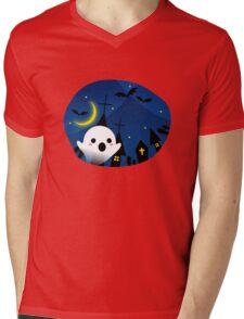 Kawaii Cute Ghost Halloween Night Bat Haunted House Mens V-Neck T-Shirt