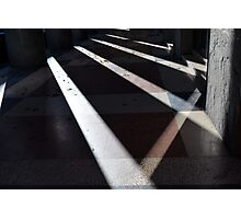 Abstract background created with lights and shadows in walkway with columns. Photographic Print