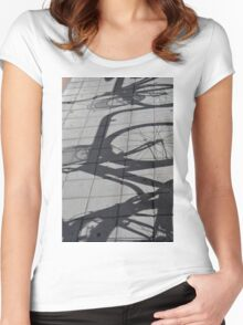 Bicycle shadow on the ground. Women's Fitted Scoop T-Shirt
