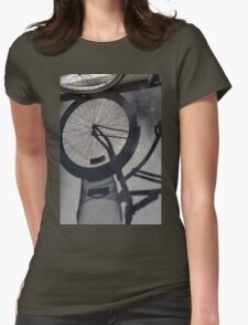 Bicycle shadow on the ground. Womens Fitted T-Shirt